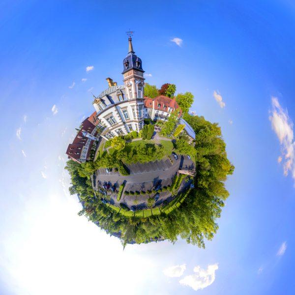 Le Château de l'Île - Prise de vue aérienne sphérique 360° - Photographe Strasbourg 67 Alsace