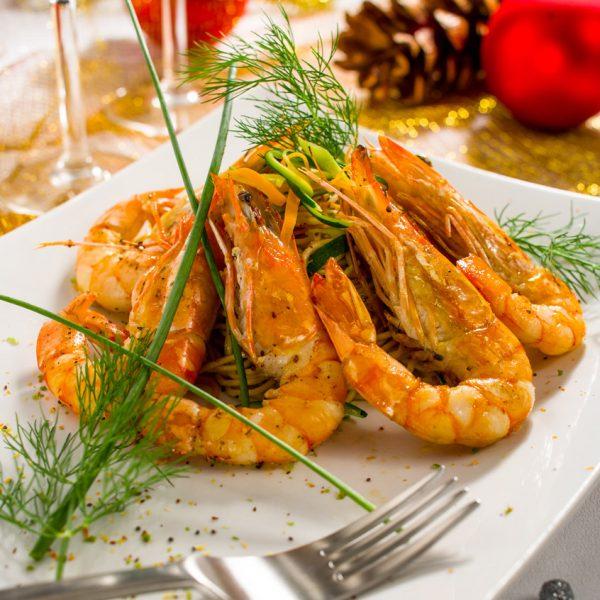 Crevettes ambiance Noël - Photographe culinaire Strasbourg 67 Alsace