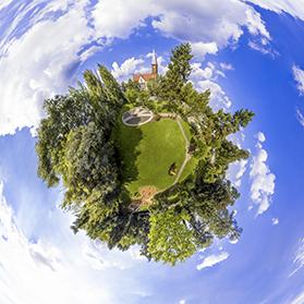 Photographie aérienne panoramique sphérique Full 360° de Schweighouse sur Moder